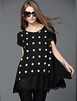 Summer Fashion Women Loose Embroider Lace Patchwork Chiffon Print Dot False Two Piece 2in1 Plus Size Blouse Shirt