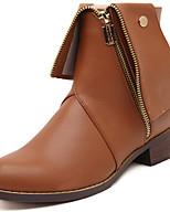 Zapatos de mujer - Tacón Robusto - Botas Anfibias / Punta Redonda - Botas - Casual - Cuero Sintético - Negro / Marrón