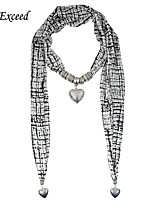 D Exceed Hot Selling Chiffon Scarf Necklace Alloy Peach Heart Pendant Scarfs Necklace for Women