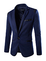 Men's Long Sleeve Regular Blazer , Polyester/PU Pure