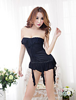 Women Polyester Black Sexy Strapless Chemises & Gowns Nightwear