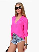 Women's V Neck Shirt , Chiffon Long Sleeve