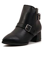 Chaussures Femme - Décontracté - Noir - Gros Talon - Bout Pointu - Bottes - Faux Cuir