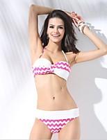 Women's Spandex Plus Size Wave Print High Rise Sexy Swimwear