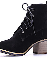 Women's Shoes Chunky Heel Round Toe Boots Casual Black/Khaki
