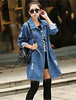Women's Casual Micro-elastic Long Sleeve Long Jeans Coat