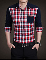 Men's Casual Checks Long Sleeve Regular Shirt (Cotton)