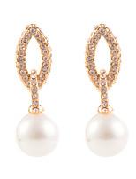 Elegant Leaf Shell Pearl Dangle Earrings
