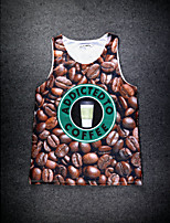 European Style Double Net Hole Vest Digital Printing 3D Sleeveless Coffee Bean Harajuku Vest