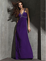 Formal Evening Dress - Grape Sheath/Column V-neck Floor-length Georgette