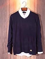 Men's Casual/Work/Formal/Sport Pure V-neck Long Sleeve Regular Pullover (Cotton)