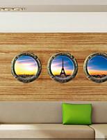 3 Pcs Morning Eiffel Tower Window PVC Wall Sticker Wall Decals