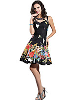 Cocktail Party Dress A-line Jewel Knee-length Satin Dress