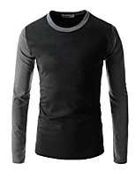 Men's Casual/Plus Sizes Pure Long Sleeve Regular T-Shirt (Cotton)