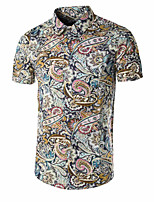 Men's Short Sleeve Shirt , Cotton/Polyester Casual Print