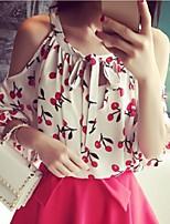 Women's Cute All Match Cherry Pattern Cut Out Shoulder T-shirt