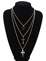 Women's European Style Fashion Multilayer Cross Alloy Necklace