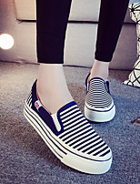 2015 Hot Style Striped Flat Slip-On Sneakers Canvas  Running Red/Black/Dark Blue/Grey/Light Blue Shoes For Women