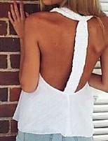 Women's White Blouse , Deep V Sleeveless
