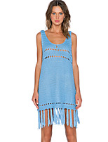 Women's Sexy Hollow Out V Neck Sleeveless Sweater Dress with Tassel Hem