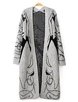 Women's Casual/Print Inelastic Medium Long Sleeve Loose Batwing Sleeve Cardigan