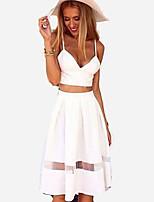 Women's Sexy Casual Cute Plus Sizes Inelastic Sleeveless Short Suit (Chiffon)
