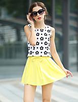 T-Shirt Da donna Con fiocco Rotonda Senza maniche Cotone