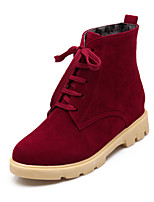 Women's Shoes Fleece Chunky Heel Fashion Boots/Round Toe Boots Dress/Casual Black/Green/Red/Beige