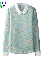 ZAY Women's New Fashion Fresh Long Sleeve Bird Print Shirt