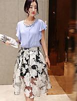 Women's Casual Micro-elastic Short Sleeve Regular Blouse (Chiffon/Cotton)