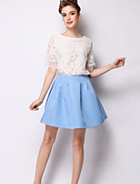 Women's Pink Skirts , Casual Knee-length