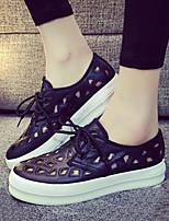 Chaussures Femme Polyester Plateforme Confort/Bout Arrondi Baskets à la Mode Extérieure/Décontracté Noir/Blanc