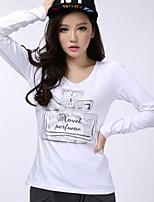 Women's Print White/Black T-shirt , V Neck Long Sleeve