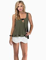 Women's Casual Micro-elastic Sleeveless Regular Blouse (Chiffon)
