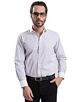 2015 Business Casual Long Sleeve Turn-down Collar Striped Men Dress Shirt White Collar and Cuff (8102)
