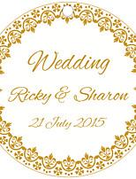 Personalized Circular Wedding Favor Tags - Golden Design (Set of 36)