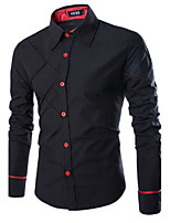 Men's Casual/Work/Formal Striped Long Sleeve Regular Shirt