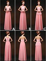 blanda& match klänningar golv längd chiffong och spets 3 stilar brudtärna klänningar (3789858)
