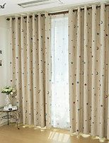 (One Panel)Country Fresh Cartoon Printed Blue Stars And Moon Room Darkening Curtain