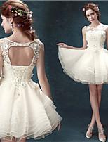 A-line Short/Mini Wedding Dress - Scoop Lace