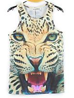European Style TEE Digital Printing 3D Sleeveless Spotted Leopard Harajuku Vest