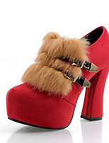Women's Shoes Fleece Chunky Heel Bootie/Round Toe Boots Dress Black/Brown/Red