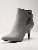 Women's Shoes Fleece Stiletto Heel Bootie/Pointed Toe Boots Dress Black/Gray