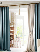 (One Panel)The Mediterranean Lake Blue Natural  Linen Pure Color Thick Room Darkening Curtain