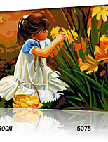 DIY Digital Oil Painting With Solid Wooden Frame Family Fun Painting All By Myself      Pluck Flowers 5075