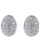 Glamorous and Luxury Rhinestone Setting Oval Stud Earrings