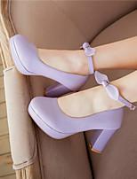 Women's Shoes Faux Leather Chunky Heel Heels/Platform Pumps/Heels Office & Career/Casual Black/Purple/White