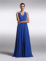 Floor-length Chiffon Bridesmaid Dress - Royal Blue Plus Sizes / Petite Sheath/Column V-neck