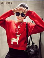 Women's Casual/Cute Micro-elastic Medium Long Sleeve Pullover (Knitwear) SF7B22