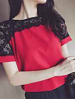 Women's Casual/Plus Sizes Inelastic Short Sleeve Regular T-shirt (Lace/Cotton Blends)